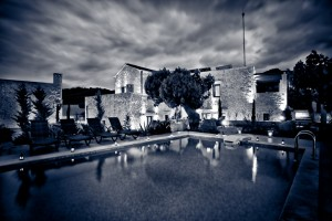 Night view pool & garden
